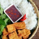 Vietnamese bun dau mam tom recipe – Rice vermicelli with fired tofu and fermented shirmp paste