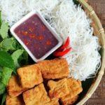 Vietnamese bun dau mam tom recipe – Rice vermicelli with fired tofu and fermented shirmp paste